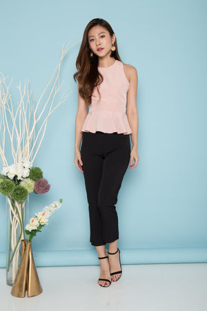 Janiyah Criss Cross Peplum Top in Pink