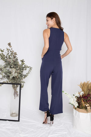Jacqueline Ribbon Jumpsuit in Navy