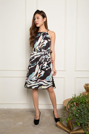 Poppy Splash Dress in Black