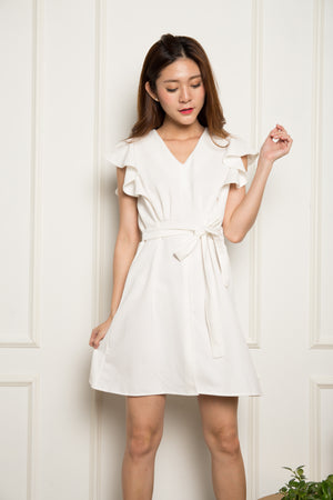 Vivian Flutter Dress in White