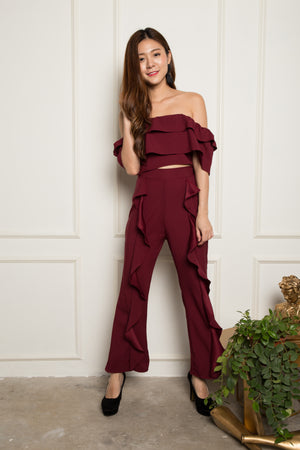 LUXE - Amelia Flutter 2 Piece Set in Burgundy