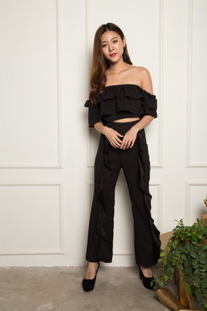 LUXE - Amelia Flutter 2 Piece Set in Black