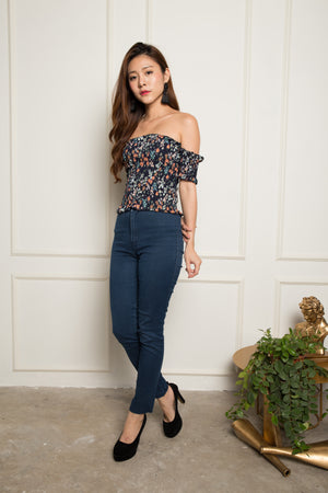 Mandy Floral Off Shoulder Top in Navy