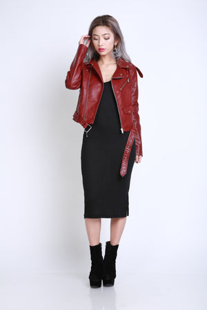 Juez Leather Jacket in Burgundy