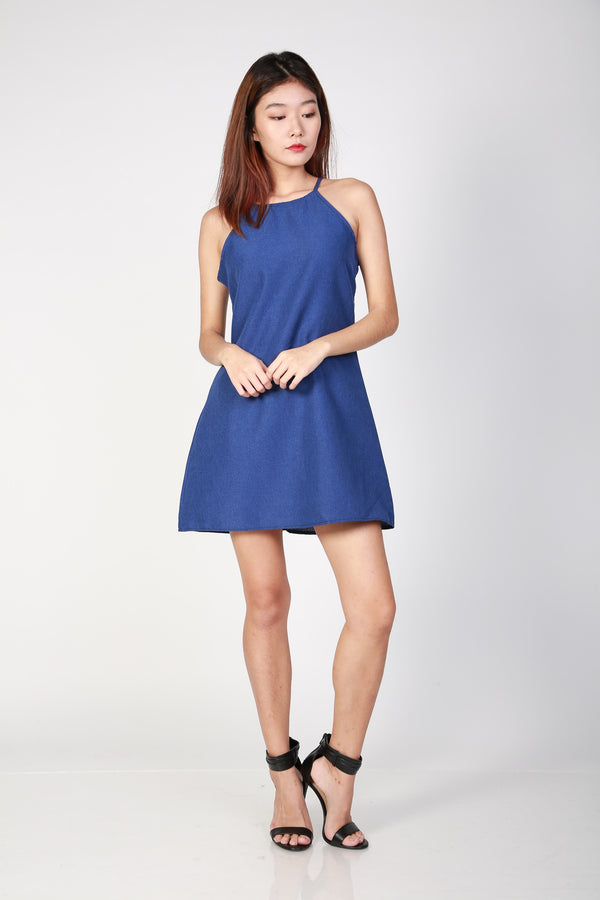Lilian Halter Dress in Denim Blue
