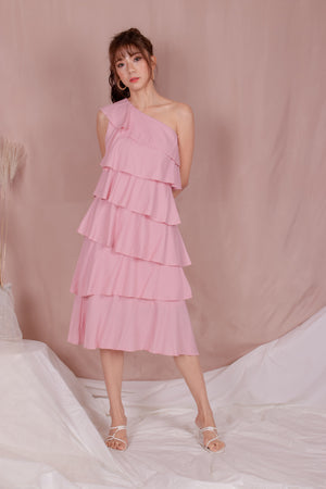 *PREMIUM* - Tilia Layered Midi Dress in Pink - Self Manufactured by LBRLABEL