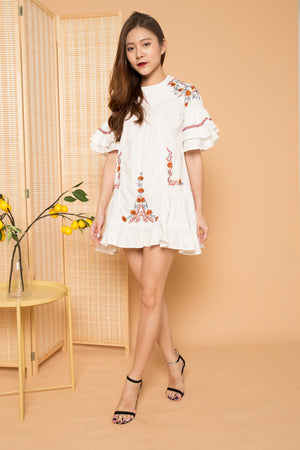LUXE - Angela Embroided Flare Dress in White