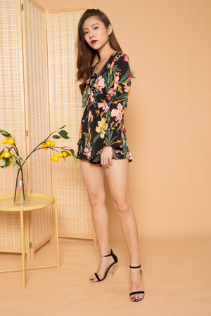 Aliza Floral Romper in Black