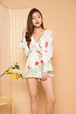 Louise Floral Romper in White
