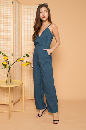 Kylia Spag Jumpsuit in Teal