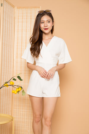 Lecina Sleeved Romper in White