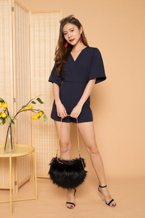 Lecina Sleeved Romper in Navy