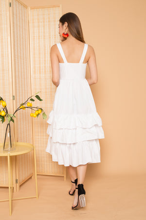 (BO) *PREMIUM* OPHELIA FLARE DRESS IN WHITE - LBRLABEL MANUFACTURED