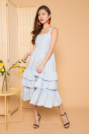 *PREMIUM* OPHELIA FLARE DRESS IN POWDER BLUE - LBRLABEL MANUFACTURED