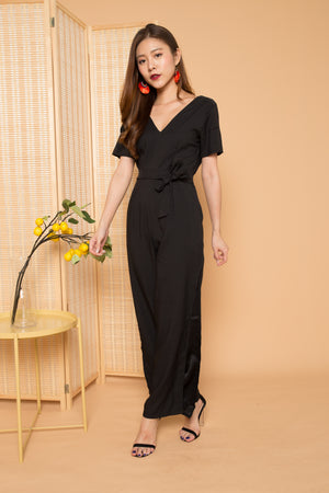 Lylah Sleeved Jumpsuit in Black