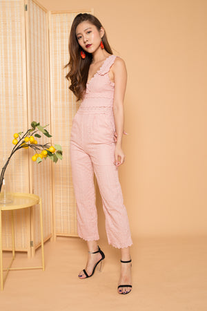 LUXE - Gwendolyn Crochet Jumpsuit in Pink