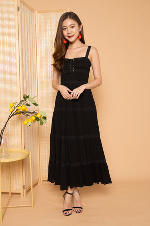 LUXE - Analia Laces Maxi Dress in Black