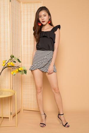 Harriet Flutter Top in Black