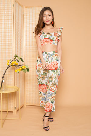 Load image into Gallery viewer, Raina Flutter Floral 2 Piece Set in White