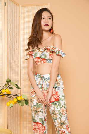 Raina Flutter Floral 2 Piece Set in White