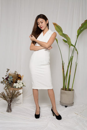 Lora Belted Corporate Dress in White
