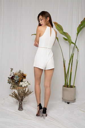 Joy Embroided Romper in White