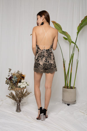 Samantha Embroided Romper in Black