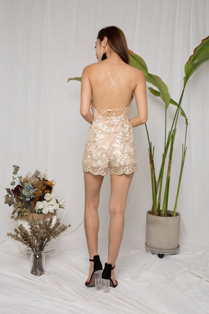 Samantha Embroided Romper in Nude