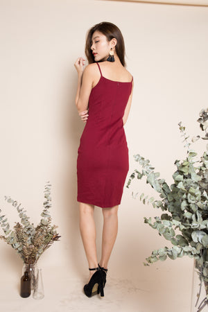 Christina Midi Dress in Burgundy