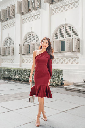 * PREMIUM * Tamsilia Toga Dress in Burgundy - Self Manufactured by LBRLABEL only