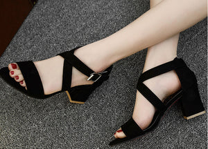 Natalie Double Buckle Heels in Black