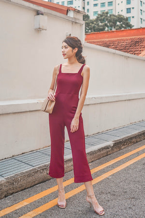 * PREMIUM * - STACELIA MIDI JUMPSUIT IN BURGUNDY - SELF MANUFACTURED BY LBRLABEL