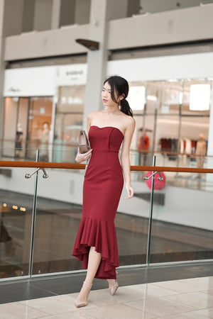 * PREMIUM * - Kelia Bustier Gown Dress in Burgundy - LBRLABEL MANUFACTURED