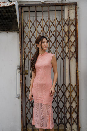 *PREMIUM* - Beralia Cheongsam Mermaid Dress in Pink - Self Manufactured by LBRLABEL