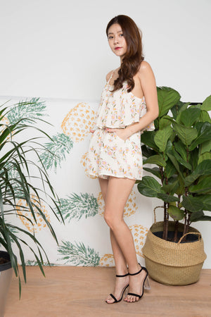 Rheana Floral Romper in Cream