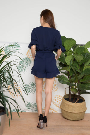 Stirling Flutter Romper in Navy