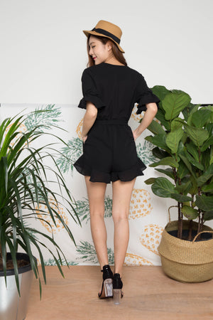 Stirling Flutter Romper in Black