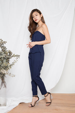 Ariyah Bustier Jumpsuit in Navy