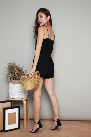 Jeusa Embroided Romper in Black