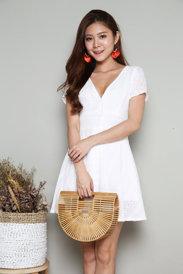 Bera Eyelet Crochet Dress in White