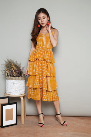 Serenity Layer Polkadot Dress in Yellow