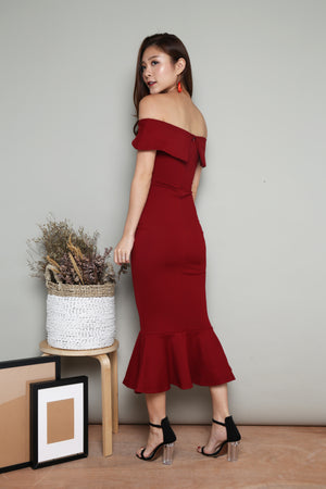 LUXE - Angewina Formal Mermaid Dress in Burgundy