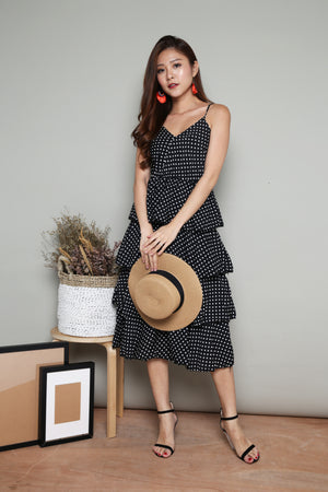 Serenity Layer Polkadot Dress in Black
