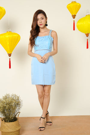 Juanna Crochet Cami Dress in Blue