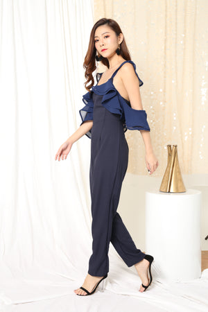 Jansa Flutter Jumpsuit in Navy