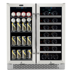 Whynter 30″ Built-In French Door Dual Zone 33 Bottle Wine Refrigerator 88 Can Beverage Center BWB-3388FDS