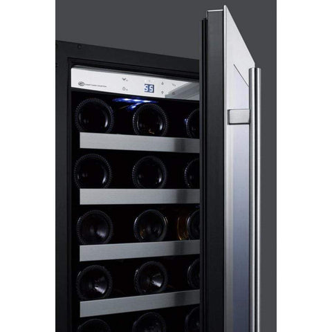 "Summit Classic 15"" 34 Bottle Stainless Steel Frame Glass Door Built-In Undercounter Wine Cooler CL15WCCSS"