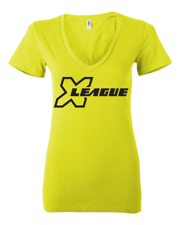 X League Football Neon Yellow V-Neck Tee
