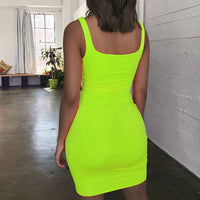 Off Shoulder Mini Bodycon Summer Dress Women Backless Club Party Sexy Wrap Neon Dress Plus Size Vestidos drop shipping