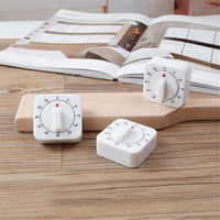 60 Minutes Kitchen Timer Count Down Alarm Reminder White Square Mechanical Timer for Kitchen